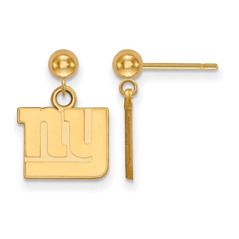New York Giants Earrings Dangle Ball in Gold Plate