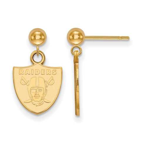 Oakland Raiders Earrings Dangle Ball in Gold Plate