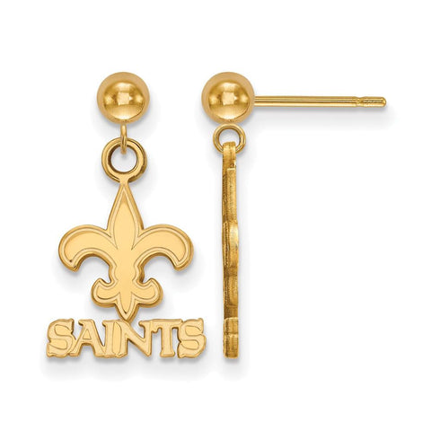 New Orleans Saints Earrings Dangle Ball in 14k Yellow Gold