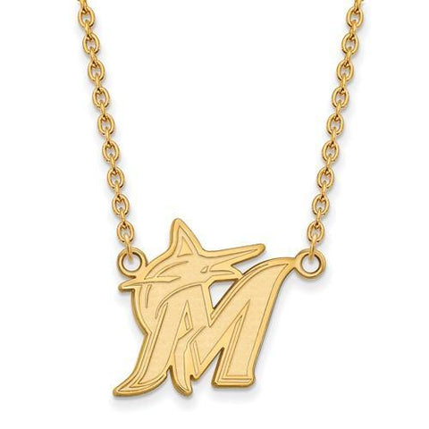 Miami Marlins Large Pendant Necklace 10k Yellow Gold