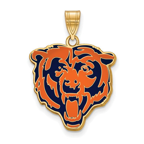 Chicago Bears Large Enamel Pendant in Gold Plate