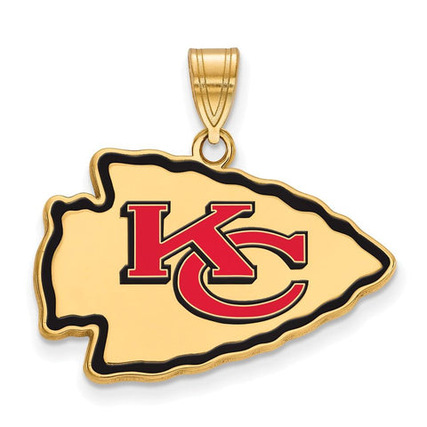 Kansas City Chiefs Large Enamel Pendant in Gold Plate