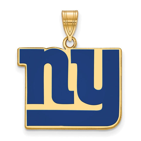 New York Giants Large Enamel Pendant in Gold Plate