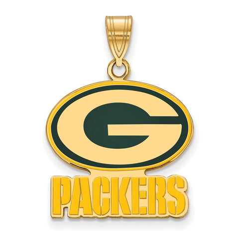 Green Bay Packers Large Enamel Pendant in Gold Plate