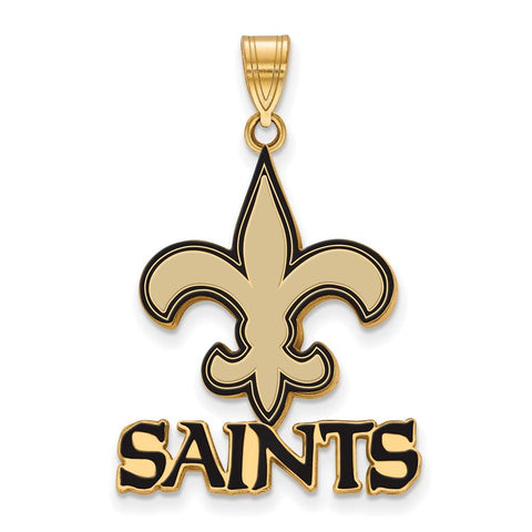 New Orleans Saints Large Enamel Pendant in Gold Plate