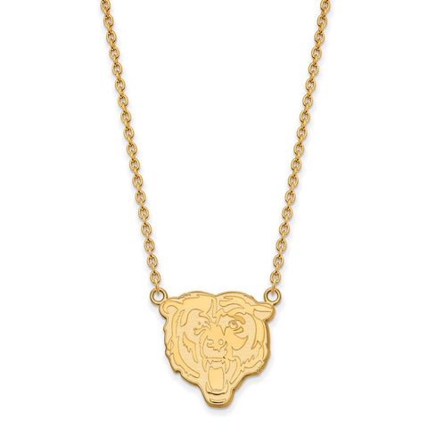 Chicago Bears Large Pendant Necklace in 10k Yellow Gold