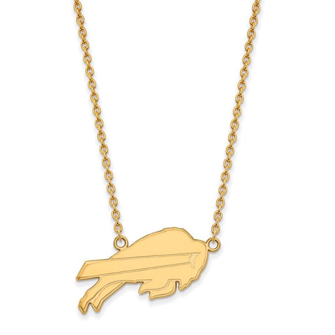 Buffalo Bills Large Pendant Necklace in 10k Yellow Gold