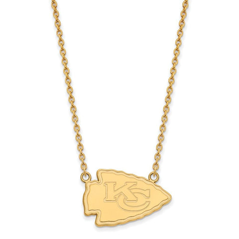 Kansas City Chiefs Large Pendant Necklace in 14k Yellow Gold
