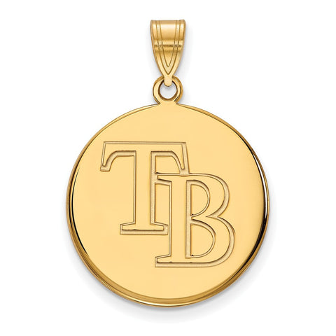 Tampa Bay Rays Large Disc Pendant 14k Yellow Gold