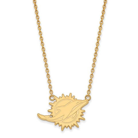 Miami Dolphins Large Pendant Necklace in 14k Yellow Gold