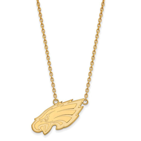 Philadelphia Eagles Large Pendant Necklace in 10k Yellow Gold