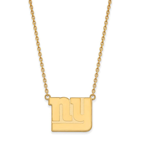 New York Giants Large Pendant Necklace in 10k Yellow Gold