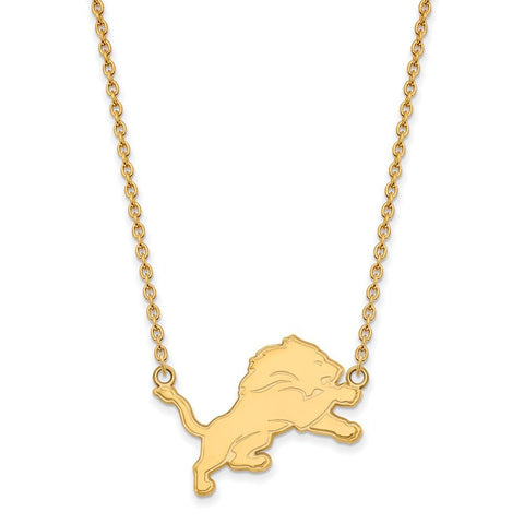 Detroit Lions Large Pendant Necklace in 10k Yellow Gold