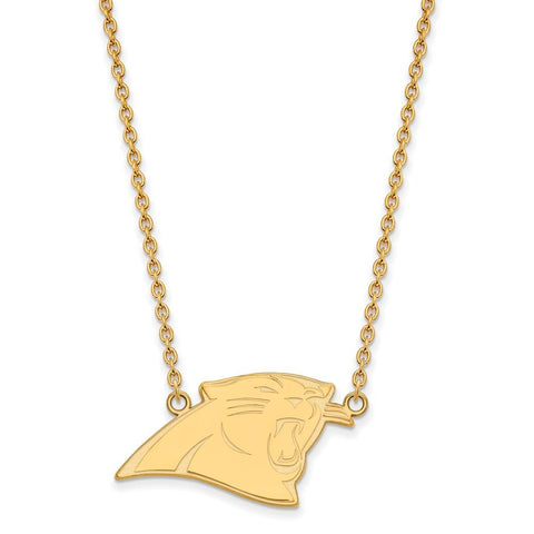Carolina Panthers Large Pendant Necklace in 10k Yellow Gold