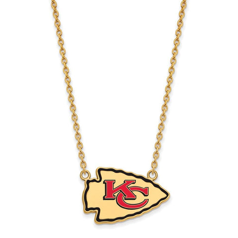 Kansas City Chiefs Large Pendant Necklace in Gold Plate