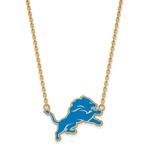 Detroit Lions Large Pendant Necklace in Gold Plate
