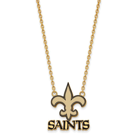 New Orleans Saints Large Pendant Necklace in Gold Plate