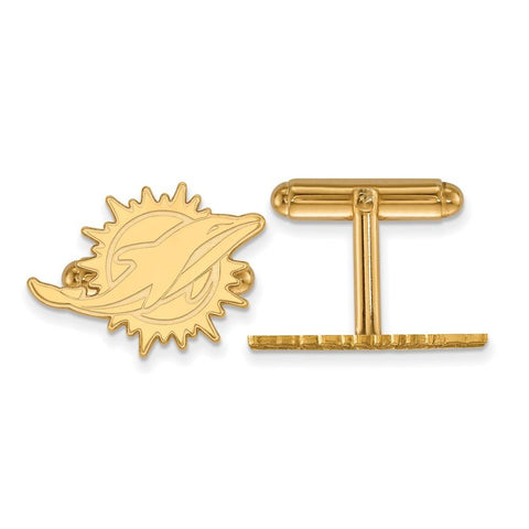 Miami Dolphins Cufflinks in Gold Plate