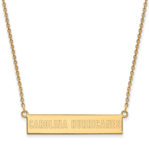 Carolina Hurricanes Small Bar Necklace Gold Plate