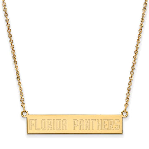 Florida Panthers Small Bar Necklace Gold Plate