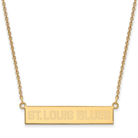 St. Louis Blues Small Bar Necklace Gold Plate