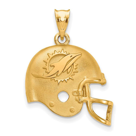 Miami Dolphins Football Helmet Pendant in Gold Plate