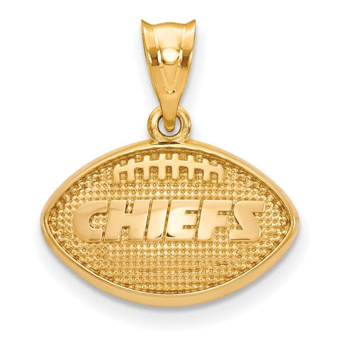 Kansas City Chiefs Football Pendant in Gold Plate