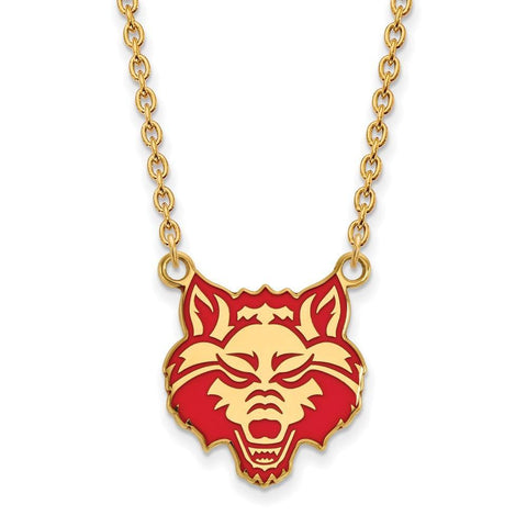 Arkansas State Red Wolves Enamel Large Pendant w/Necklace