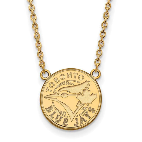 Toronto Blue Jays Large Pendant Necklace 10k Yellow Gold
