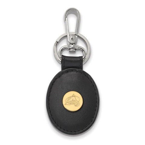 Colorado Avalanche Black Leather Oval Key Chain