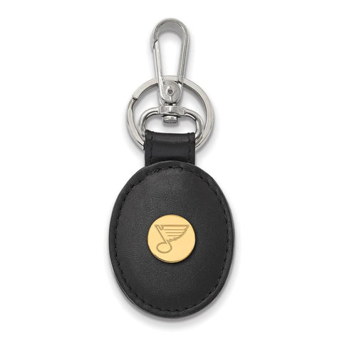 St. Louis Blues Black Leather Oval Key Chain 14k Gold Plate