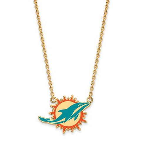 Miami Dolphins Large Pendant Necklace in Gold Plate