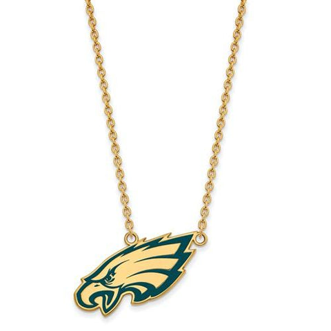 Philadelphia Eagles Large Pendant Necklace in Gold Plate