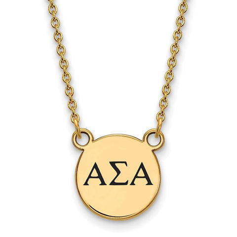 Alpha Sigma Alpha Extra Small Enameled Pendant with 18 Inch Chain