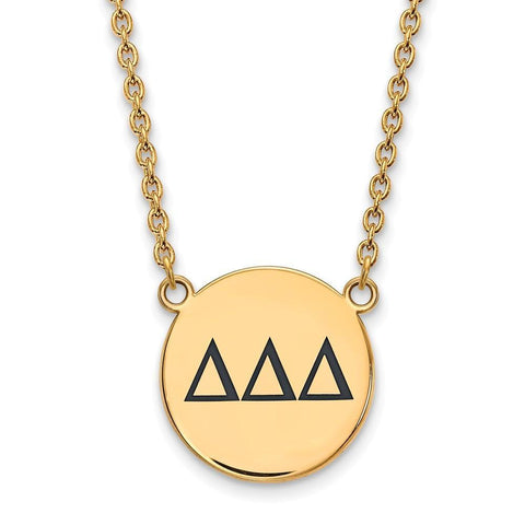 Delta Delta Delta Small Enameled Pendant with 18 Inch Chain