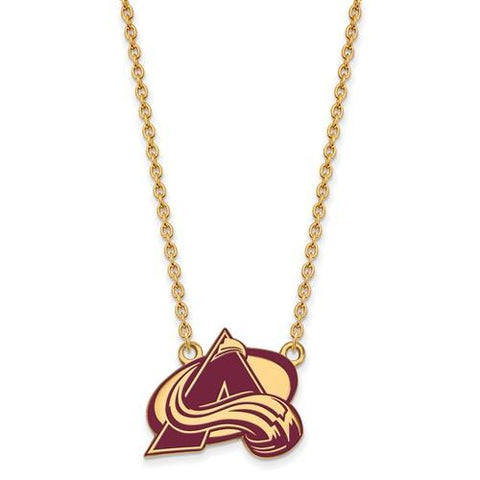 Colorado Avalanche Large Enamel Pendant Necklace 14k Gold Plate