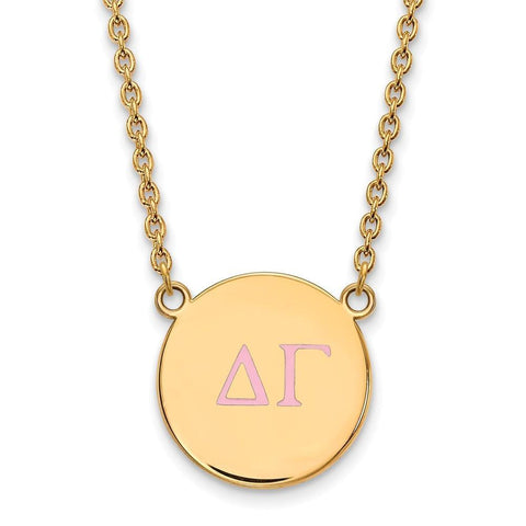 Delta Gamma Small Enameled Pendant with 18 Inch Chain