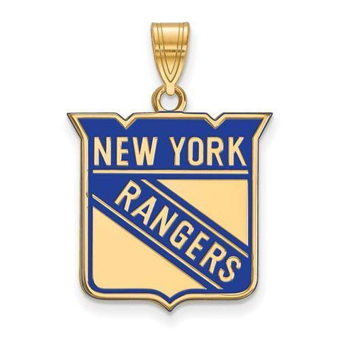 New York Rangers Large Enamel Pendant 14k Gold Plate