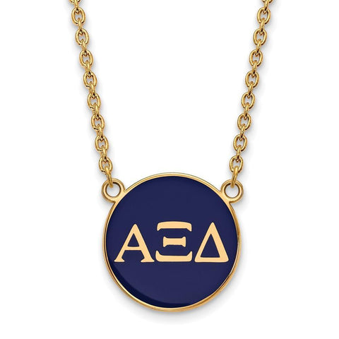 Alpha Xi Delta Small Enameled Pendant with 18 Inch Chain
