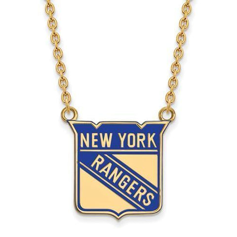 New York Rangers Large Enamel Pendant Necklace 14k Gold Plate