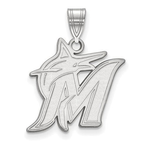 Miami Marlins Large Pendant 10k White Gold