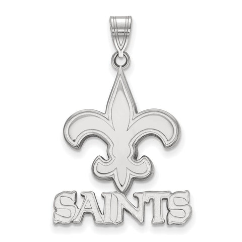 New Orleans Saints Large Pendant in 14k White Gold