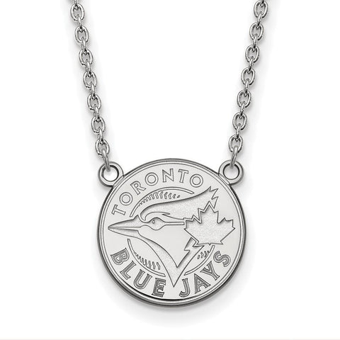 Toronto Blue Jays Large Pendant Necklace 10k White Gold