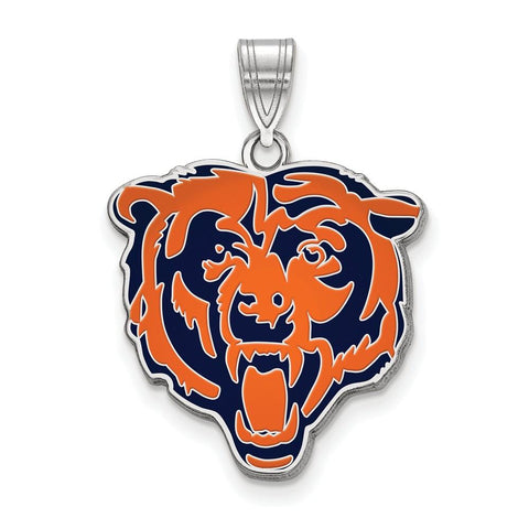 Chicago Bears Large Enamel Pendant in Sterling Silver