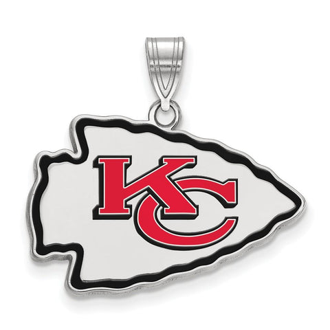 Kansas City Chiefs Large Enamel Pendant in Sterling Silver