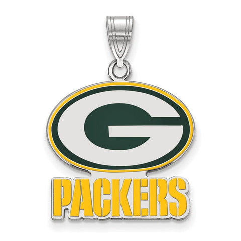 Green Bay Packers Large Enamel Pendant in Sterling Silver
