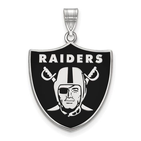 Oakland Raiders Large Enamel Pendant in Sterling Silver
