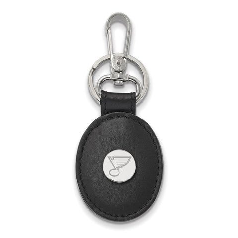 St. Louis Blues Black Leather Oval Key Chain Sterling Silver