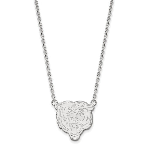Chicago Bears Large Pendant Necklace in 10k White Gold