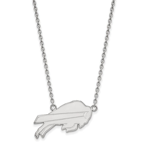 Buffalo Bills Large Pendant Necklace in 10k White Gold